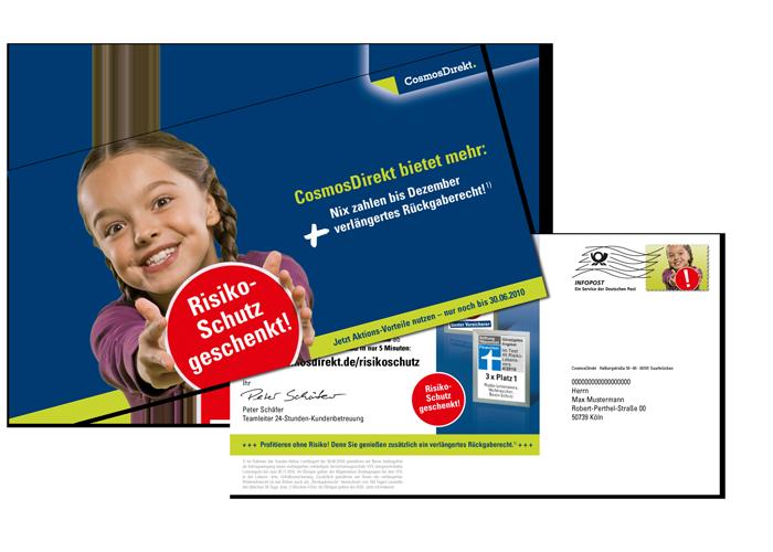 Mailing Maxi Card CosmosDirekt Risiko-Schutz geschenkt!